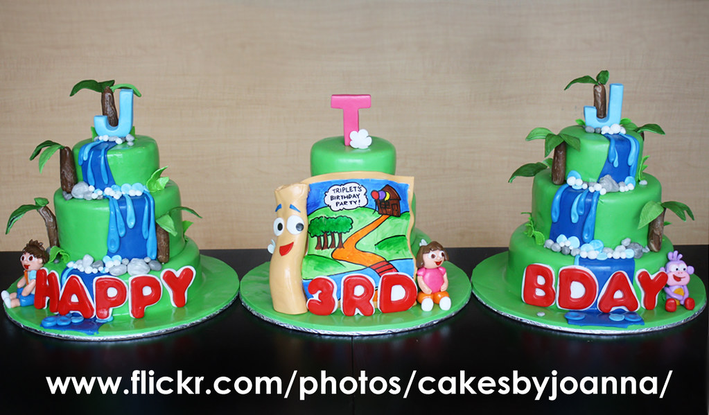 Diego And Dora Cake For Triplets Visit My Blog At Www Flickr - Go diego go birthday cake