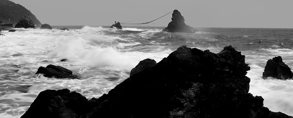 Summer Wild Beach Typhoon At White Sea Panorama Black And