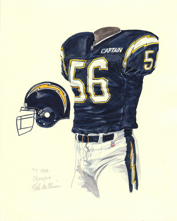 San Diego Chargers 1992 Uniform Artwork This Is A Highly