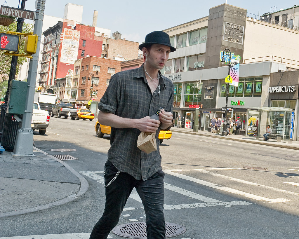 manhattan new york city with cool hat he might be