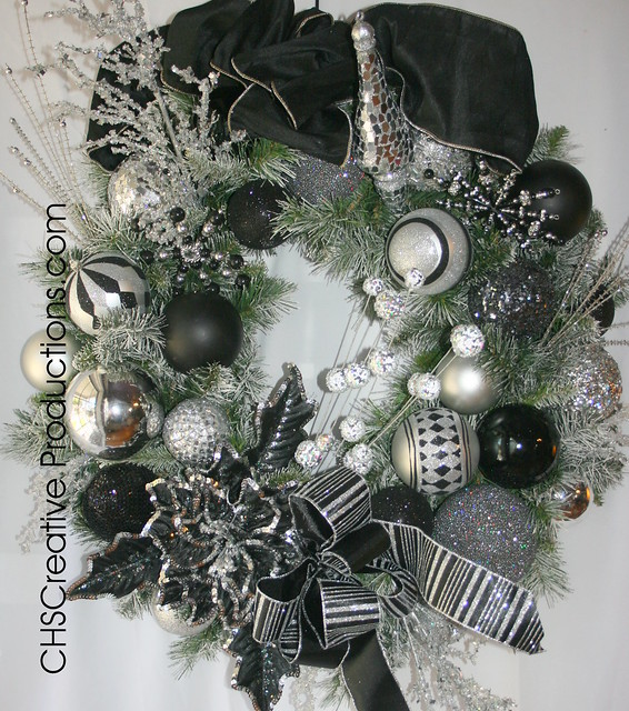 Black and silver christmas wreath flickr photo sharing - Black and silver christmas ...