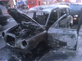 Burnt out taxi on new oxford street | by steeev