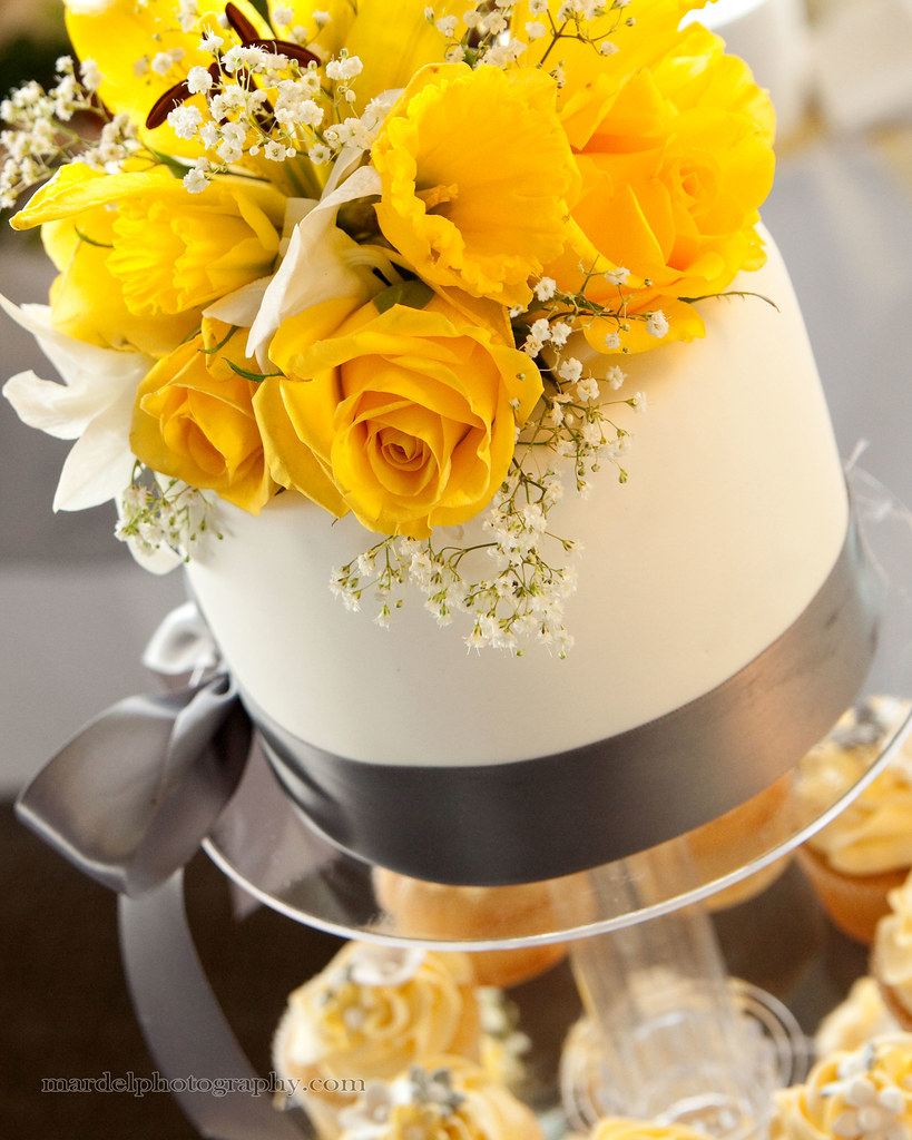 White Wedding Cake with Gray & Yellow Accents | By Sweet Cak… | Flickr