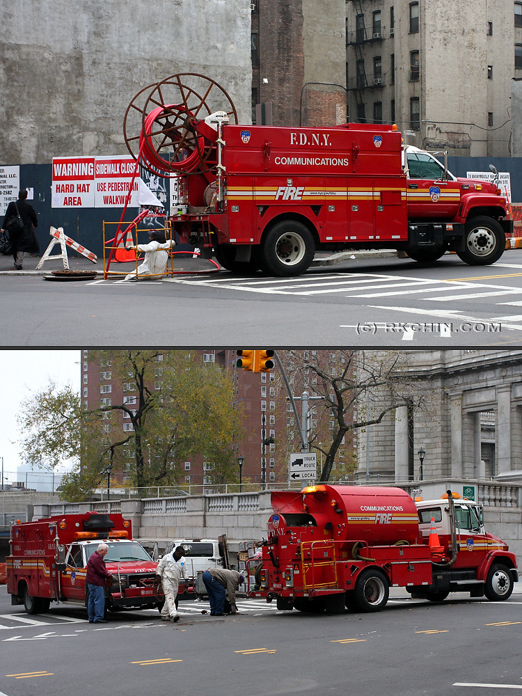 FDNY communications bureau work trucks pulling cable on Ca ...