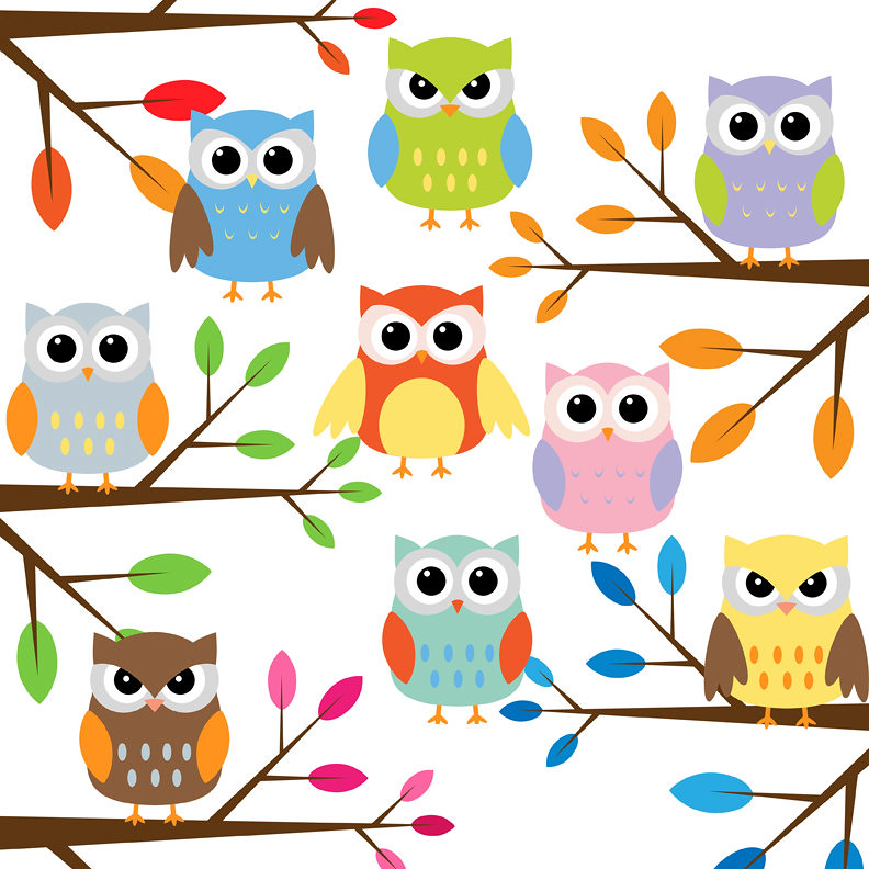 Free Owl Wallpapers: Owl With Branches Clip Art Set