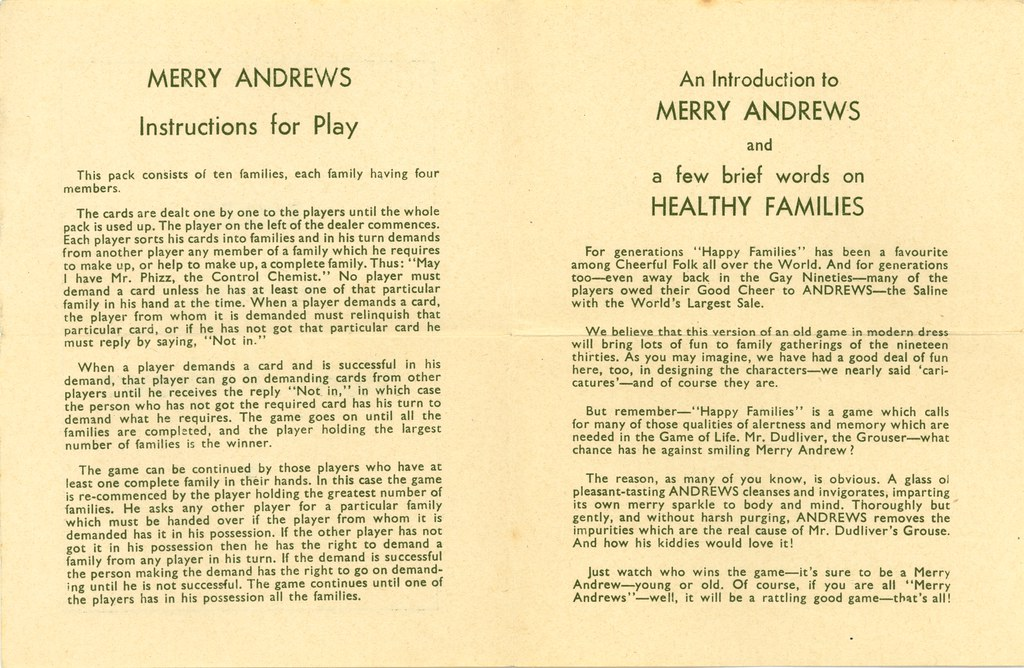Andrews Liver Salt Happy Families Playing Cards Rules Flickr