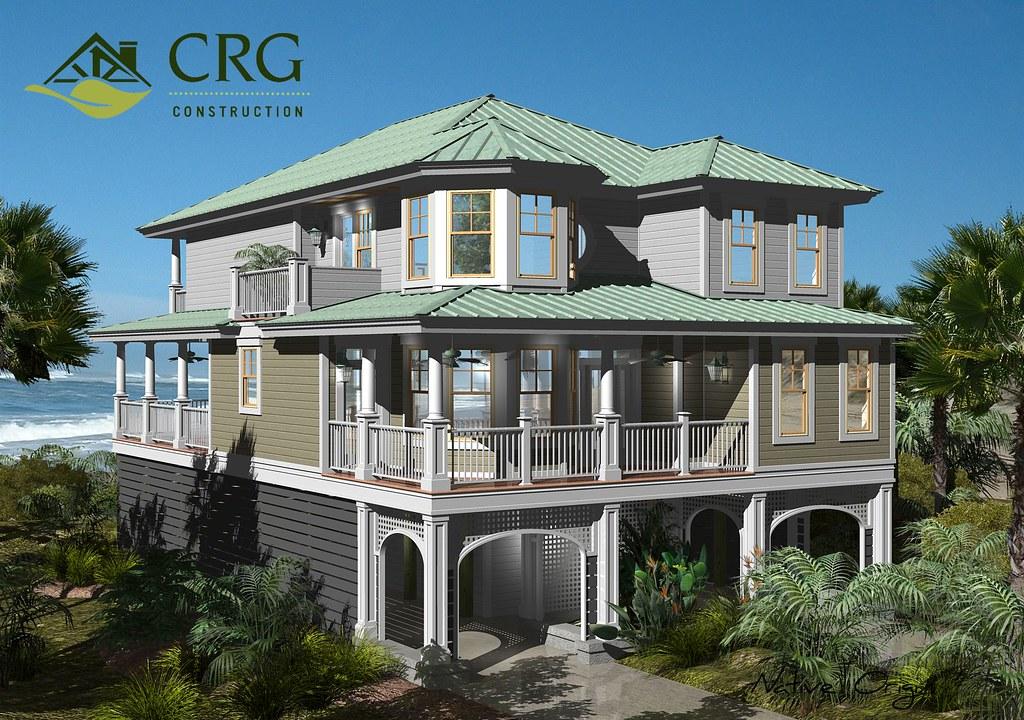 Custom crg beach house design crgconstruction flickr for Custom beach house plans