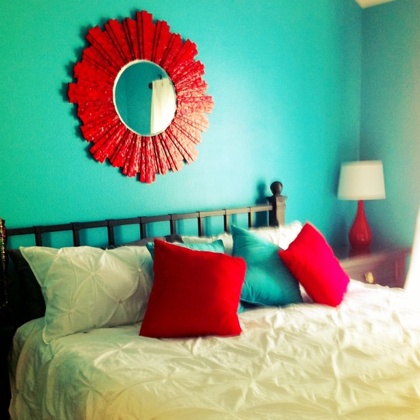 I Took A Picture Of Our Teal (turquoise) And Red Bedroom T