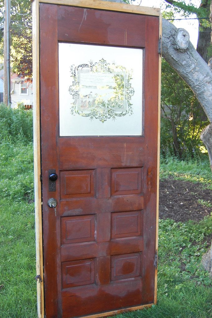 Antique Door With Etched Glass Stained Wood Backside Of