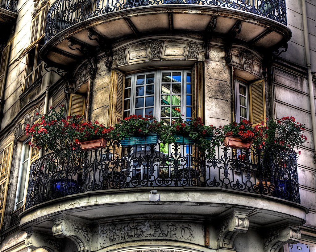 French balcony captured in the streets of nice on july for French balcony