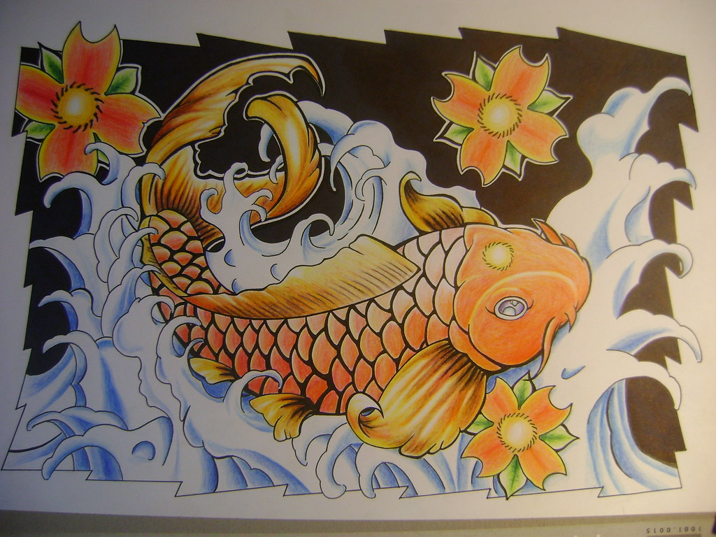 Pez koi ya con color mi dibujo con tinta y lapices de for Imagenes de peces chinos