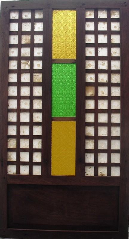 Capiz and colored glass window panel series 07 capiz for Window design 4 6