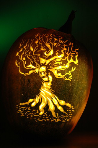 Twisted ghost tree a carving of scary for hallowe