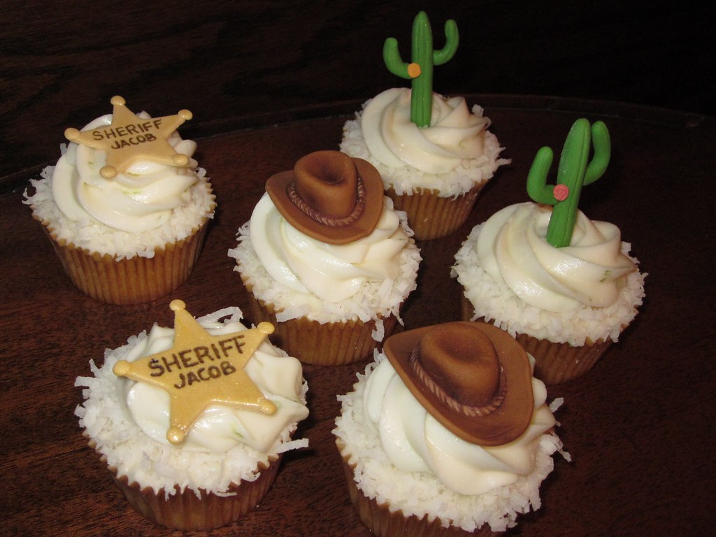 Cowboy Theme Birthday Cupcakes Coconut Cupcakes Topped wit Flickr