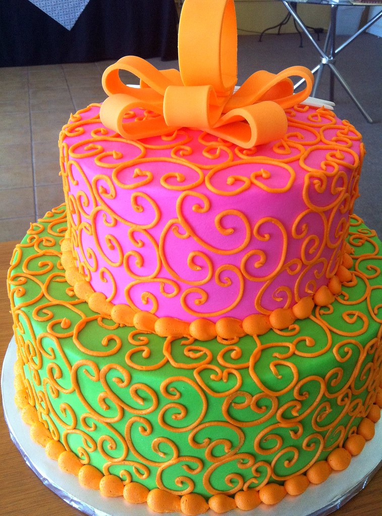 Green Pink Bow Cake Dpasteles Cake Shop Flickr