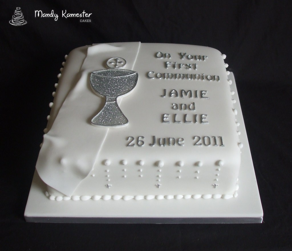 Communion Cake Elegant White And Silver Communion Cake