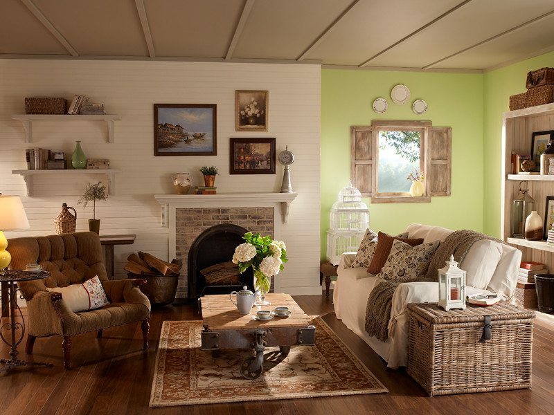 Cozy English And World Styled Sitting Room With: Walls: Moonlight White 350E