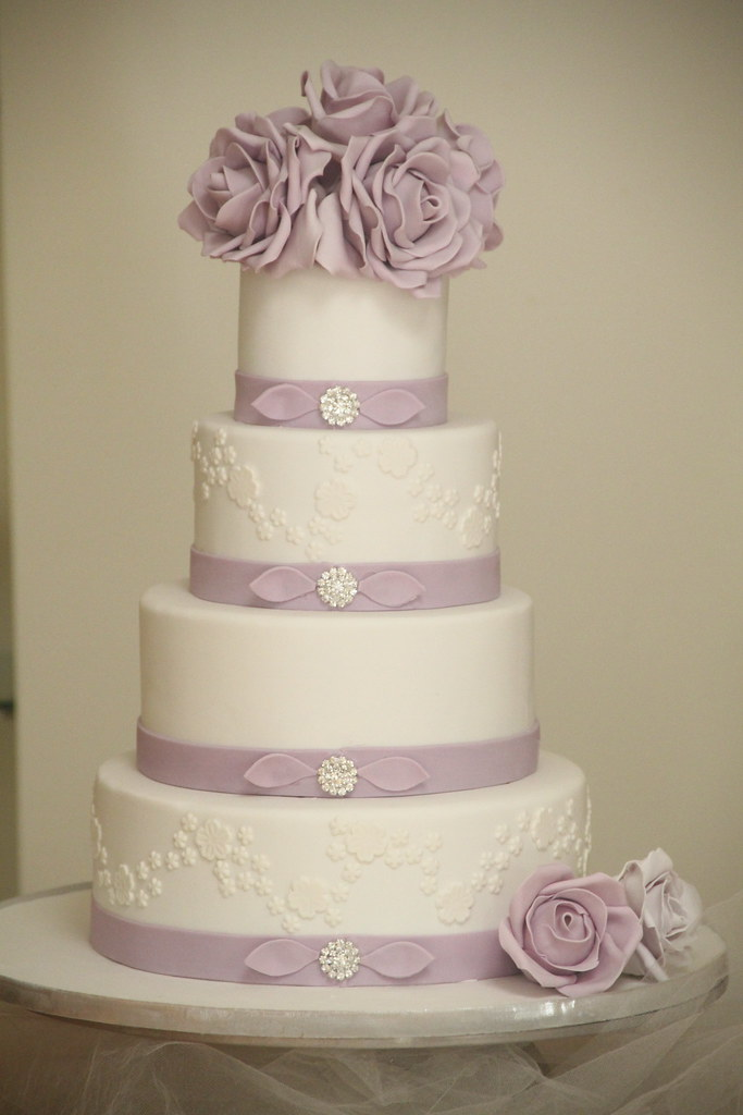 Purple Rose Wedding Cake 4 Inch 6 Inch 8 Inch 10 Inch