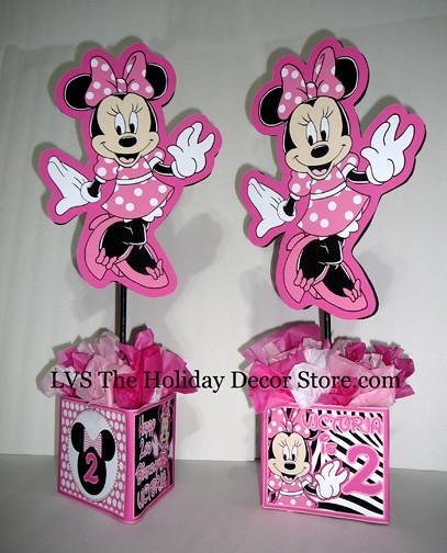 Minnie mouse personalized centerpiece zebra white black de for Baby minnie mouse party decoration ideas