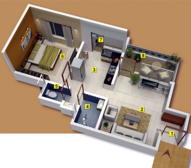 Top View Of A 1 Bhk Flat In Gardenia 1 Bhk 2 Bhk Flats At