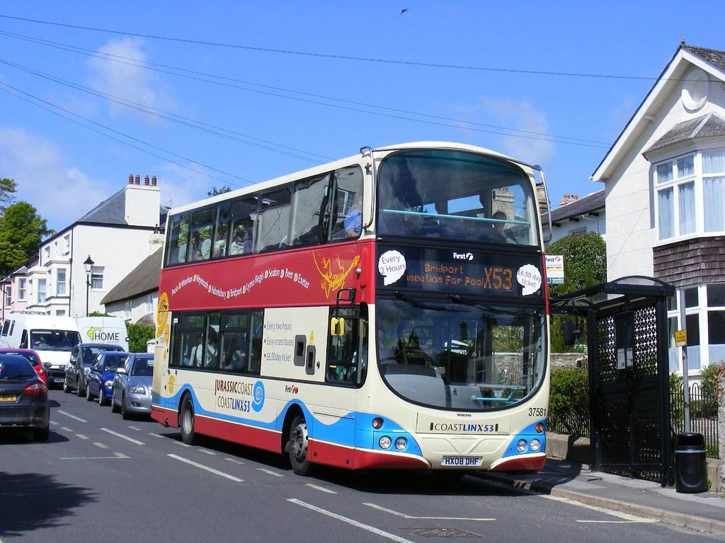 X53 Bus At Charmouth First Hx08dhf 37581 Jurassic Coast
