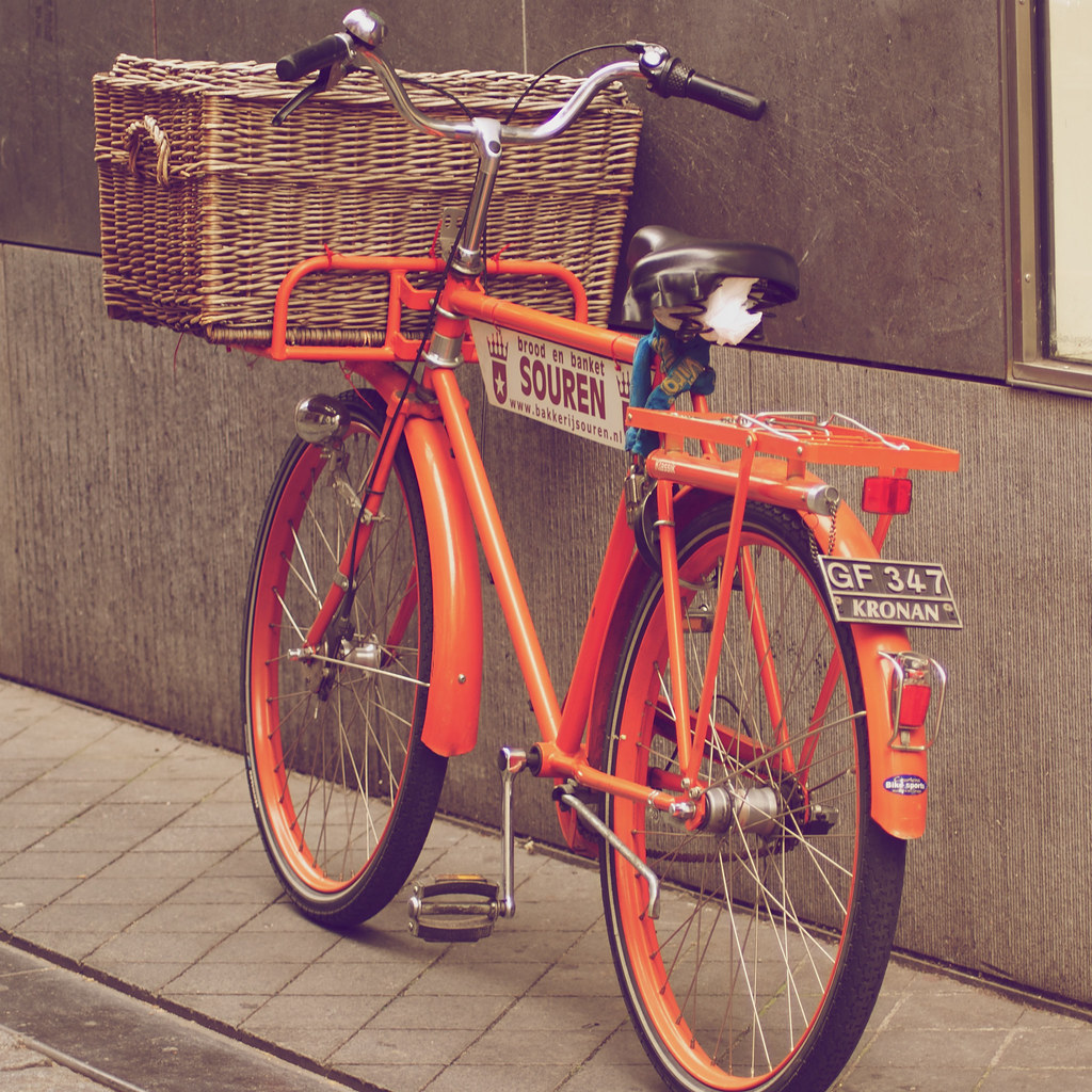old school bike vintage bike with license plate en basket flickr. Black Bedroom Furniture Sets. Home Design Ideas
