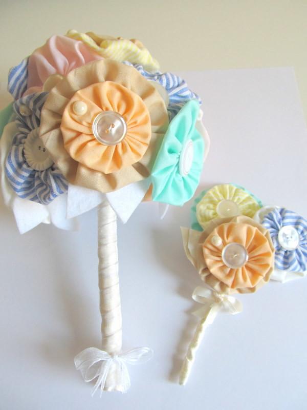 Handmade Custom Wedding Bouquet And Groomsmen Pin