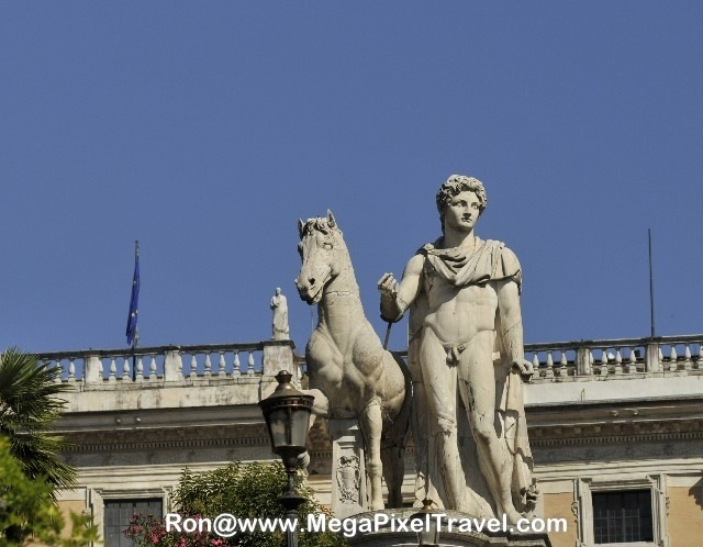 Rome Italy Marble Statue Of Man And Horse After A