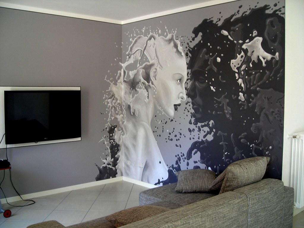 Parete salotto dipinta a acrilico barbara e stefania for Parete salotto