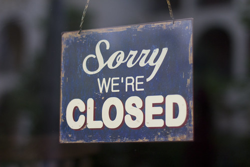 "Restaurant's ""Sorry we're Closed"" sign 
