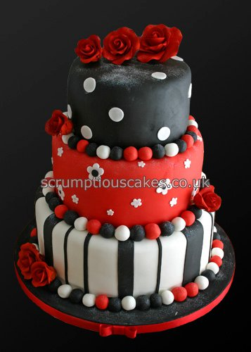 Wedding Cake 747 Red Black Amp White Funky Paula Jane
