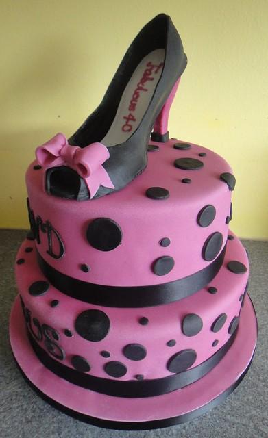 high heel shoe cake 2 tier fuscia pink and black 40th