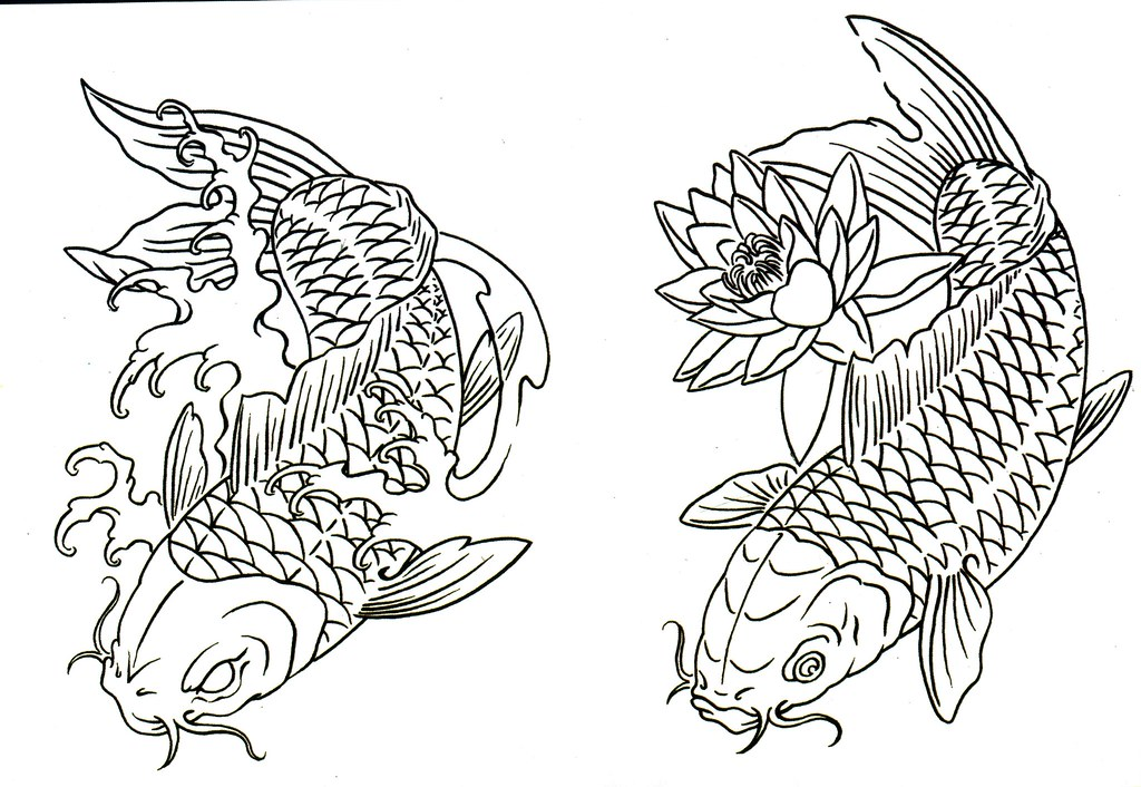 Koi fish drawing outline - photo#47