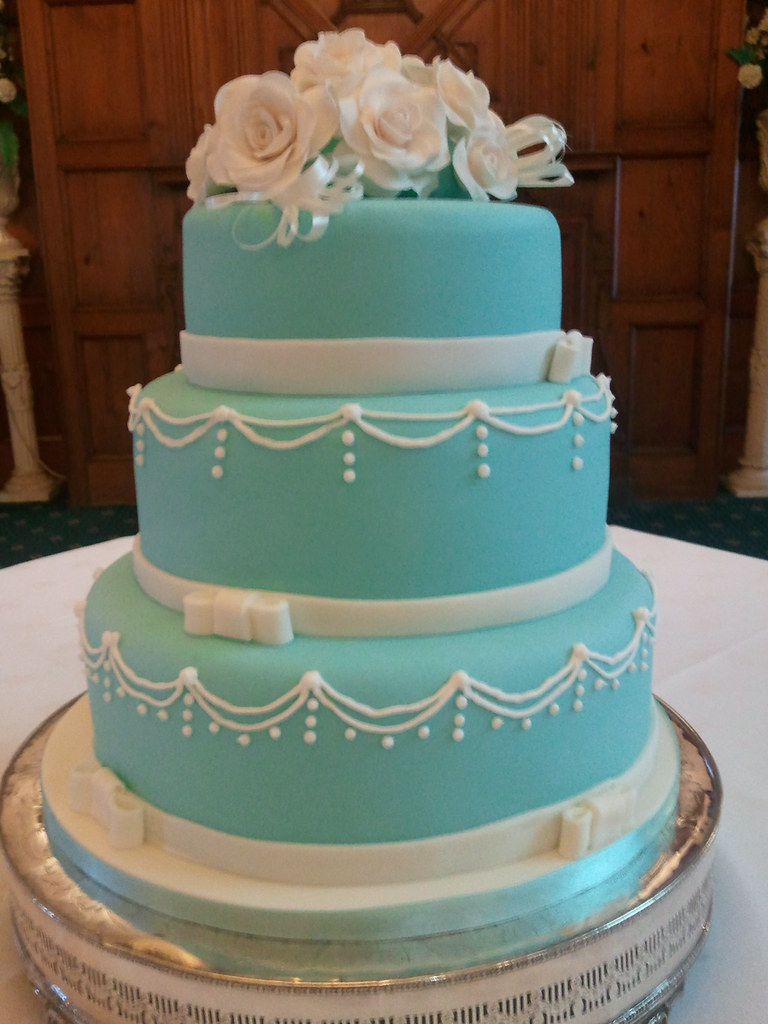 White And Tiffany Blue Wedding Cake