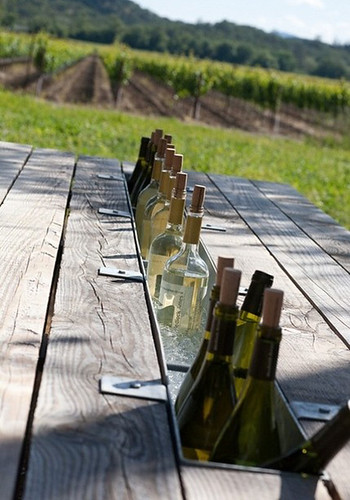 table with wine chiller | by the style files