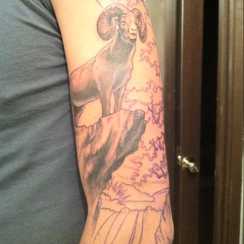 Big Horn Sheep Tattoo Part Of My Desert Sleeve Bookis Smuin Flickr