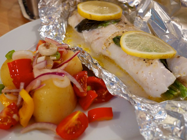 Cod loin cooked en papillote with lemon, sage, wine and le… | Flickr ...