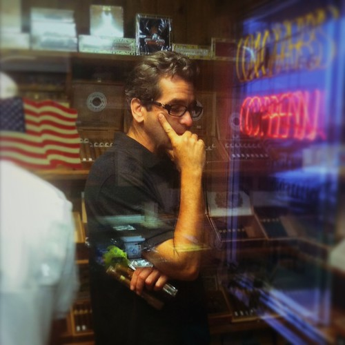 Miles O'Brien picking out shuttle launch good luck cigars for the very last time. | by xeni