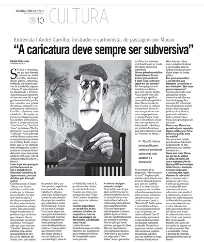 Interview for Hoje Macau (in portuguese) | by André Carrilho