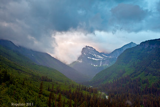 The Battle for Dawn, Mt. Oberlin and Bird Woman Falls, Glacier National Park | by Jared Ropelato