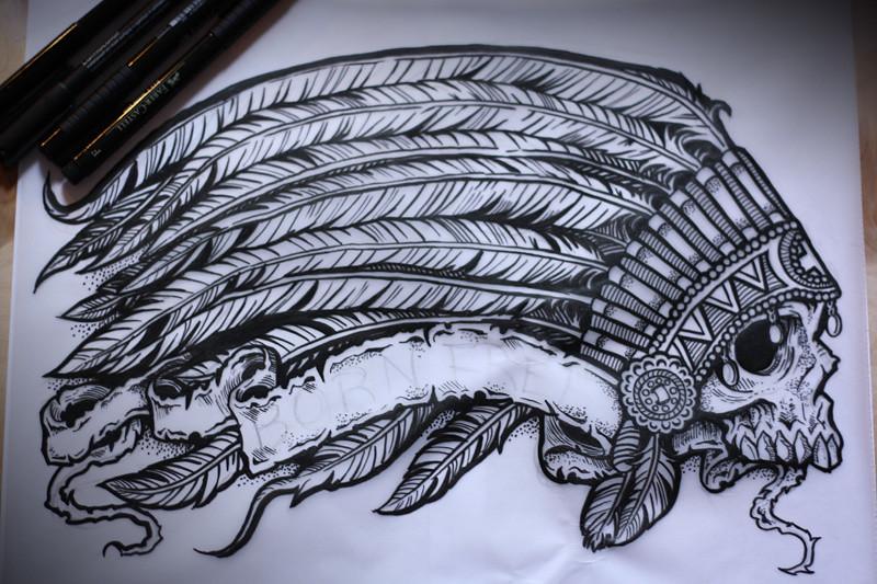 indian headress pen ink for a project derrick castle flickr. Black Bedroom Furniture Sets. Home Design Ideas