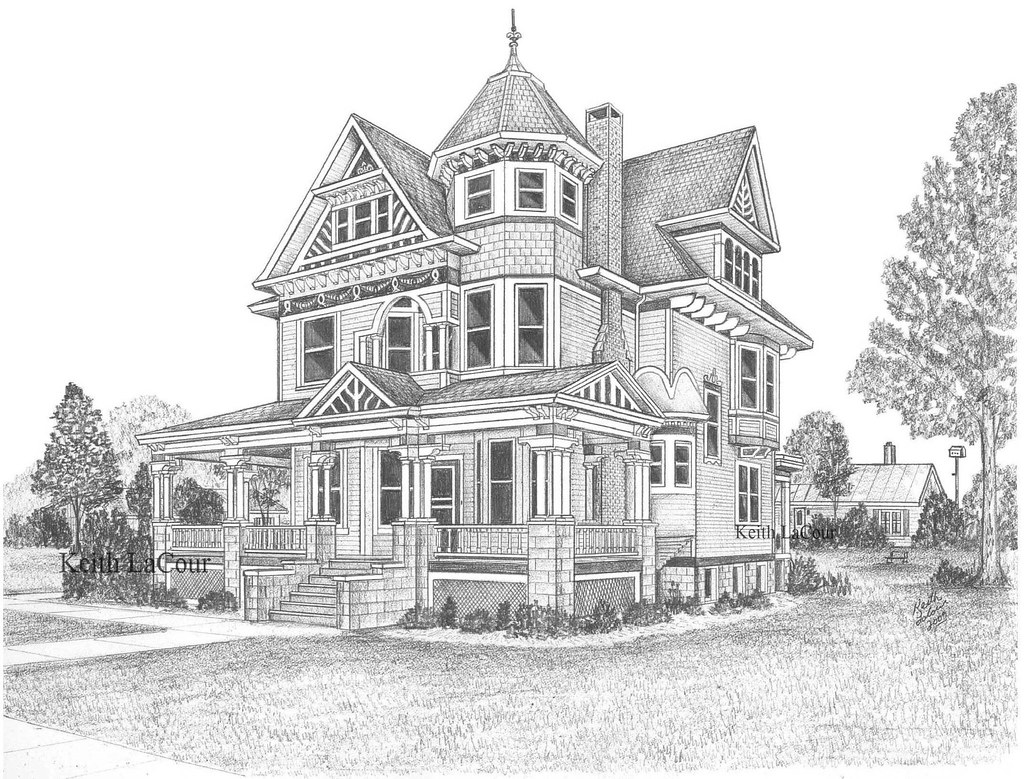 Victorian house aviston il pencil drawing by keith Haunted house drawing ideas