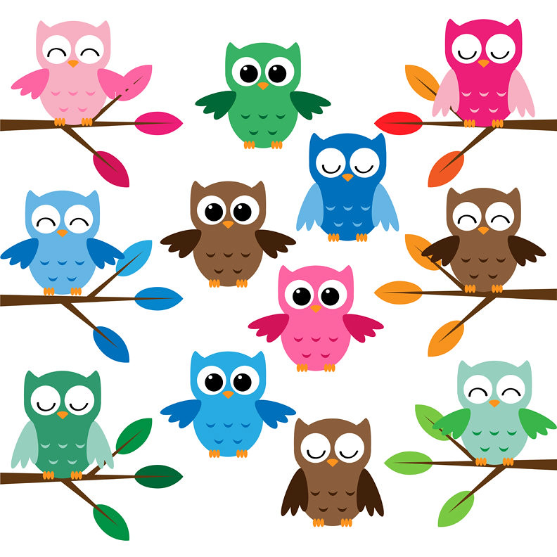 Cute owls clip art set | This set includes 18 files in PNG ...