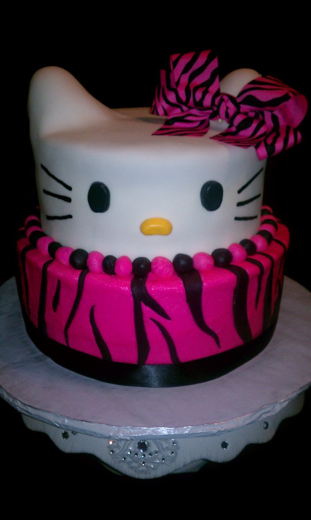Hello Kitty with Zebra Print Cake | Hello Kitty 3D cake ...