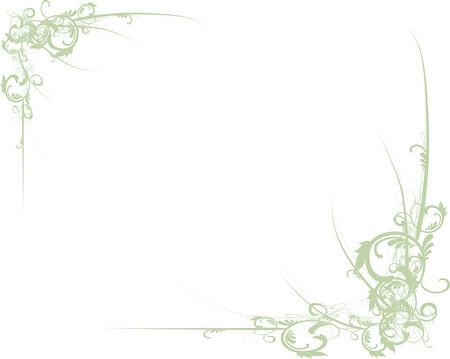 Elegant Green Scrolls Along Corners Of A White Background