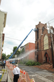 Worker attempts to demolish north tower of Trinity Church, Albany NY | by chuckthewriter
