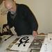 Taigen participates in Kaz's calligraphy workshop
