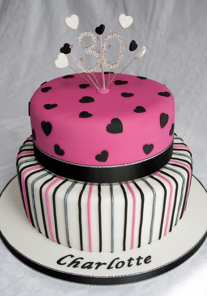 Pink Black And White Bling 30th Birthday Cake Www