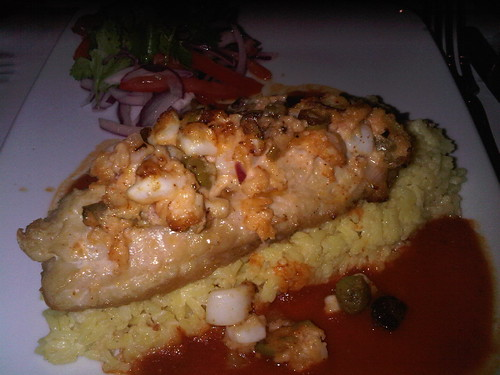 Red snapper stuffed w shrimp and squid in spicy tomato sauce at Fonda, Brooklyn. | by miahungrylongtime