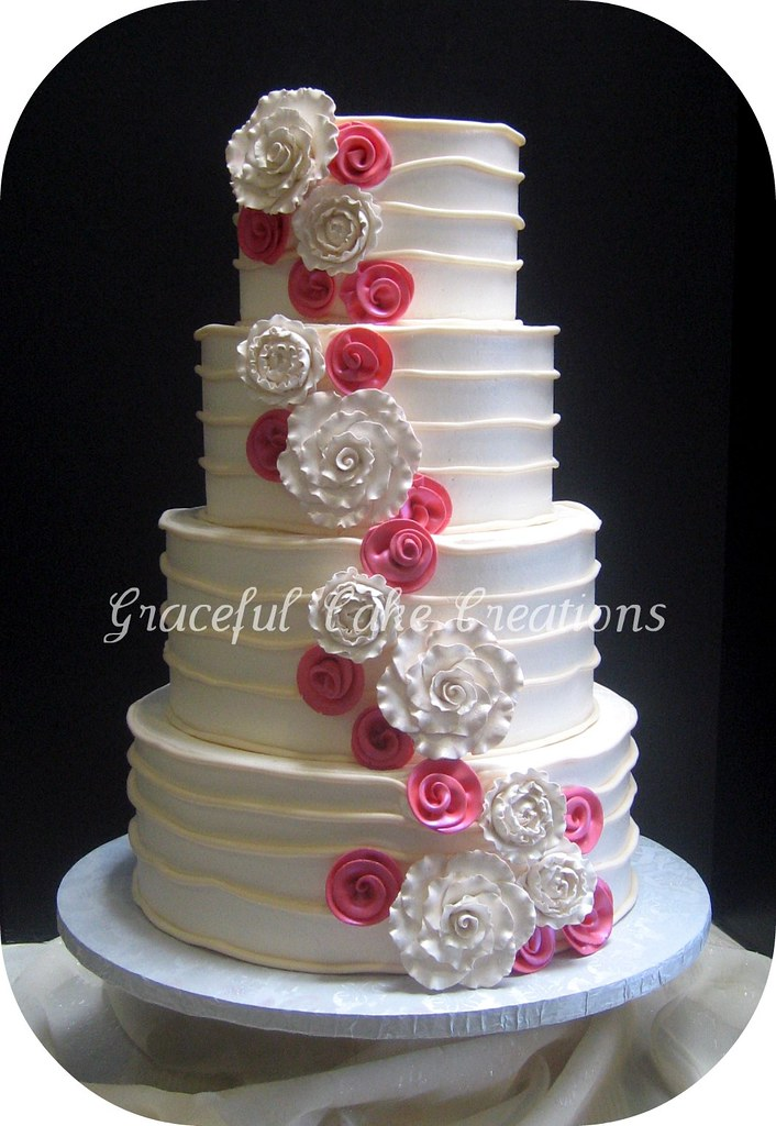 Elegant Ivory And Coral Pink Wedding Cake Grace Tari
